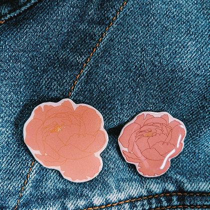 Peony Resin Lapel Pin | SECONDS