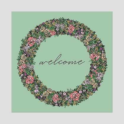 Welcome Floral Wreath | 8x8 Print