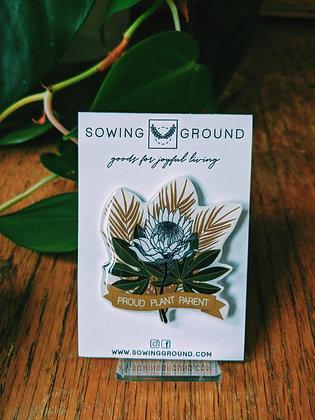 Protea Proud Plant Parent Resin Lapel Pin | SECONDS