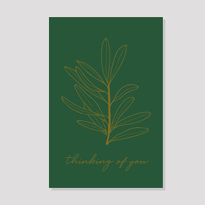 Thinking of You Olive Postcard (Green & Gold)