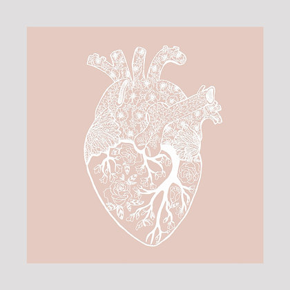 Anatomical Floral Lace Heart | 8x8 Print