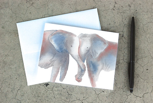 Hugging Elephants Card