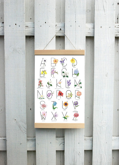 Botanical Alphabet Canvas Hanging Print