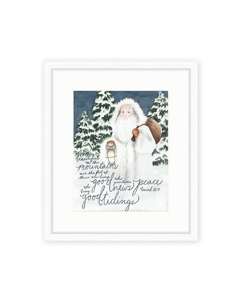 Woodland Santa Print
