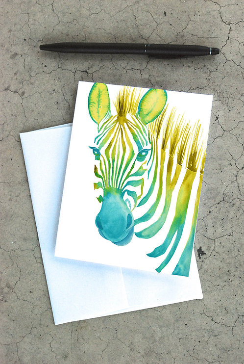 Neon Zebra Card