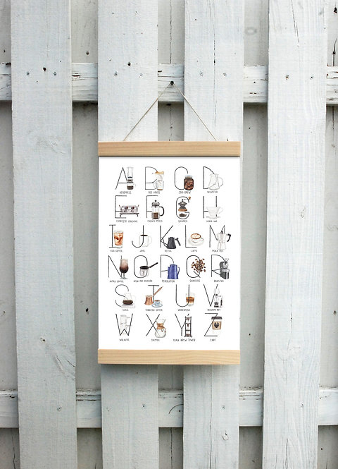 Coffee Alphabet Canvas Hanging Print