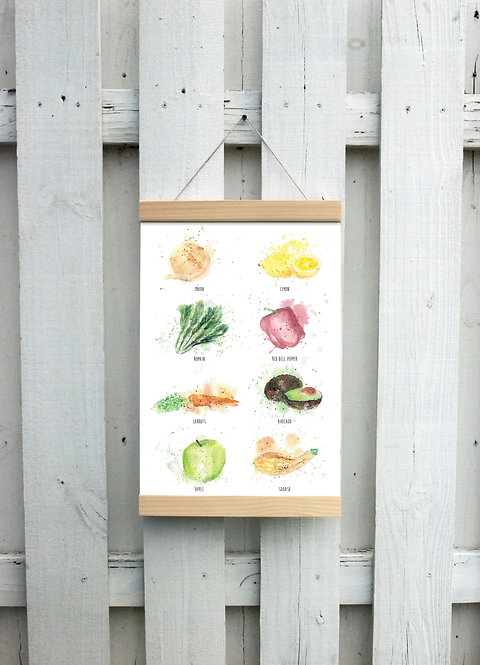 Fruit & Veggie Canvas Hanging Print