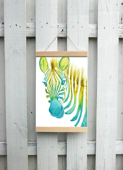 Neon Zebra Canvas Hanging Print