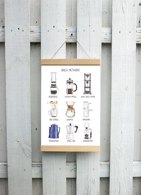 Brew Methods Canvas Hanging Print