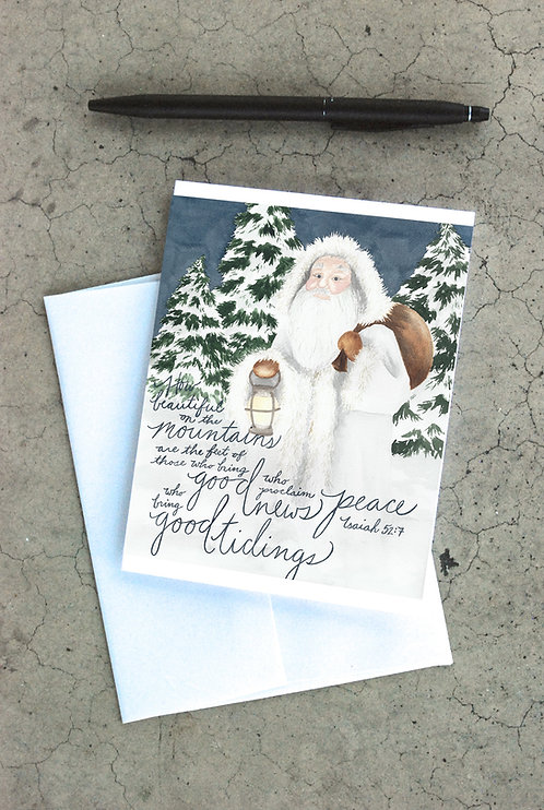 Woodland Santa Card