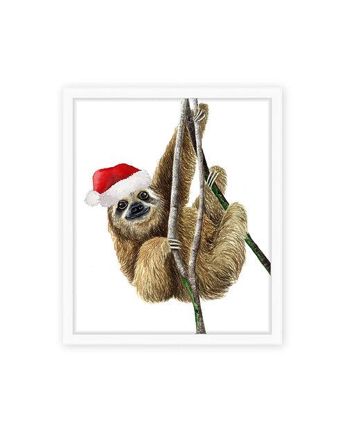 Santa Sloth Print