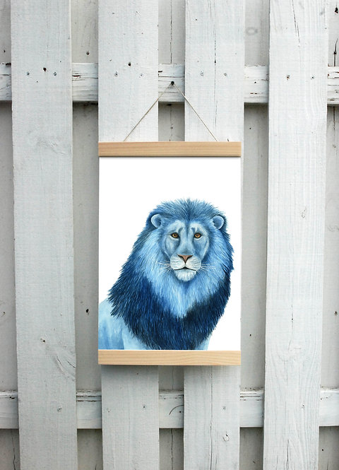 Blue Lion Canvas Hanging Print