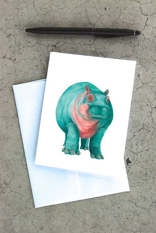 Turquoise Hippo Card