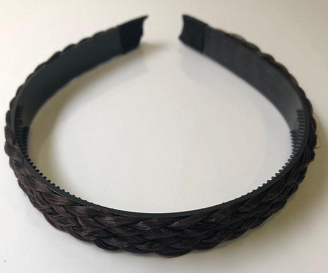 Hard Plaited Headband - Brown