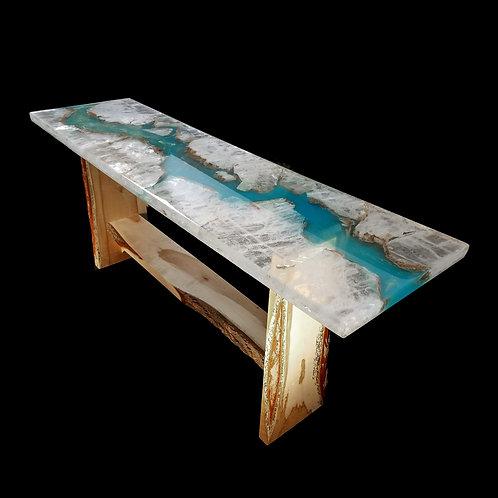 Ice Selenite Crystal Live Edge Table