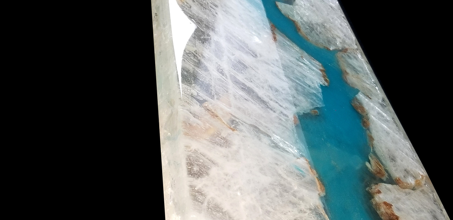 Solid 150lb ice selenite crystal & resin tabletop