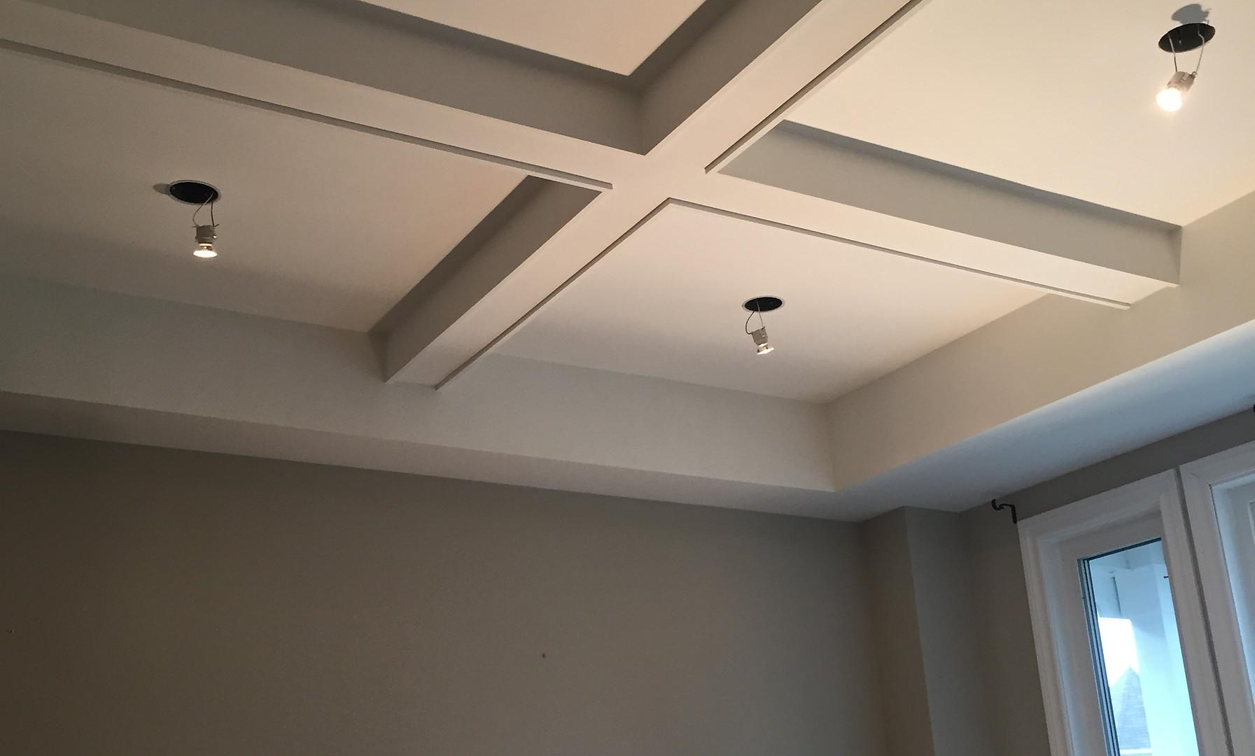 Coffeured ceiling/potlight installation