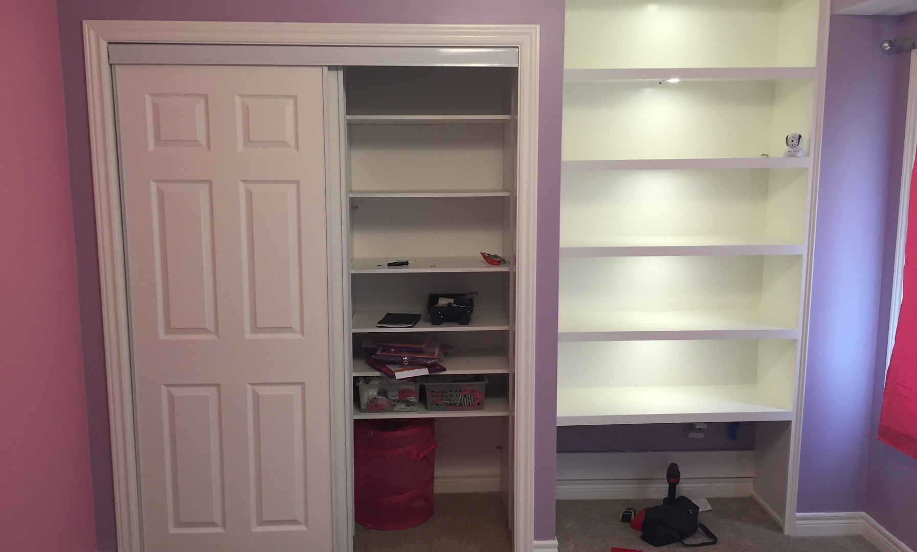 Widening of closet doors and custom book shelf build