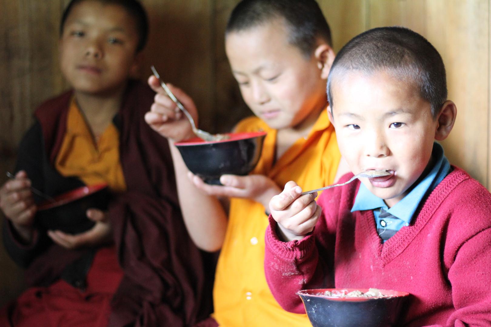 Little monks having their breakfast