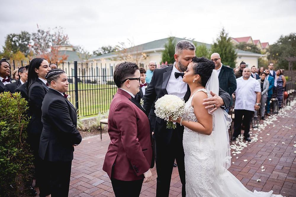 wedding couple meeting at altar