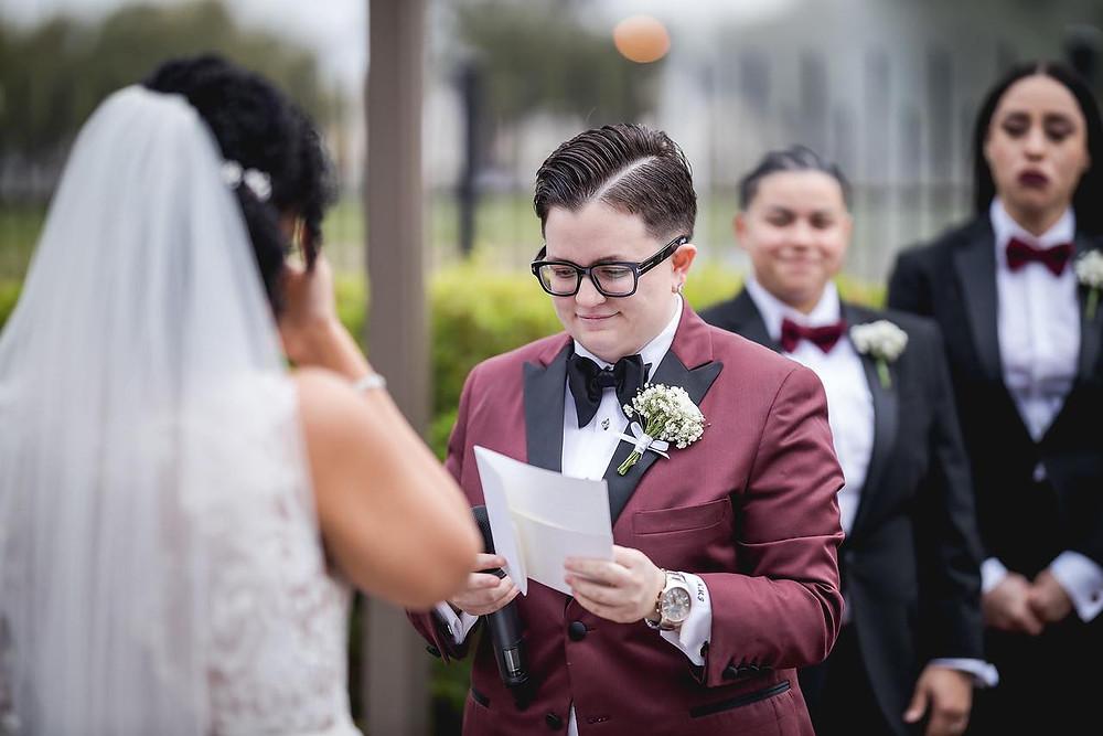bride reading written vows