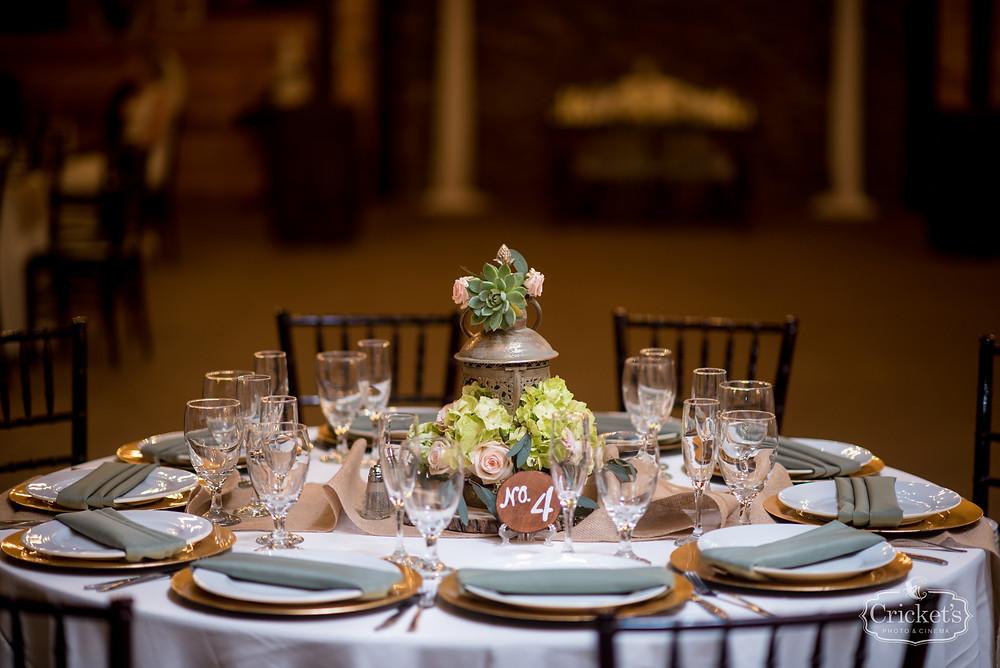Orlando Club Lake Plantation Wedding Table Setting DJ and Entertainment