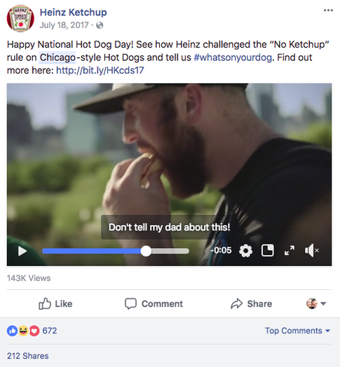 Facebook Post with Reveal Video
