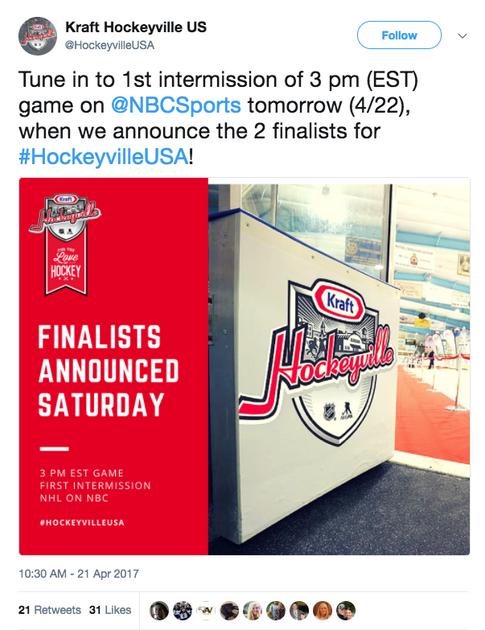 Kraft Hockeyville Tweet