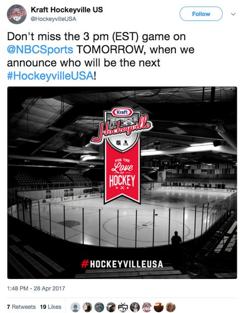 Hockeyville Tweet