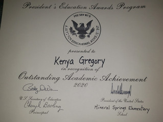Congratulations to Kenya Gregory for an outstanding school year
