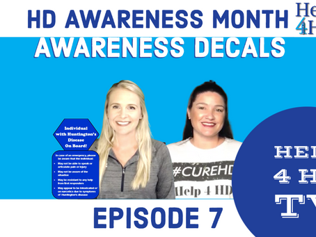 HD Awareness Window Decal Free Giveaway for HD Awareness Month