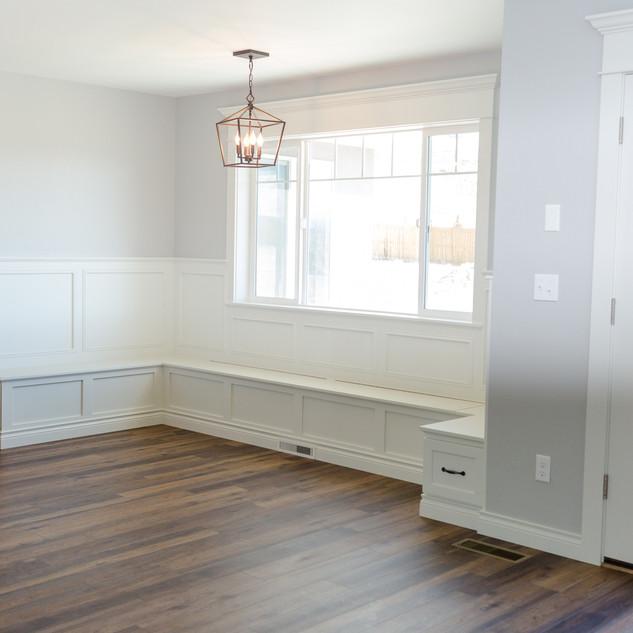 Trim, Wainscotting, bench, doors interior painting