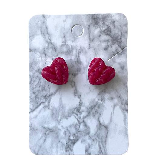 Glitter pink knitted heart studs (Medium)
