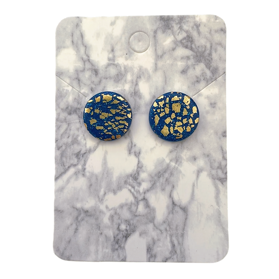 Sparkly blue and gold large studs