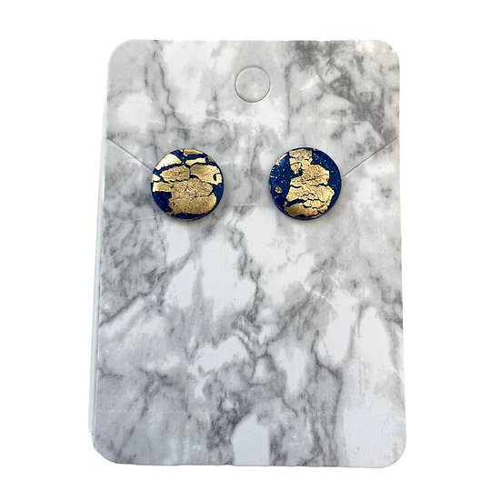 Sparkly blue and gold studs (Medium)