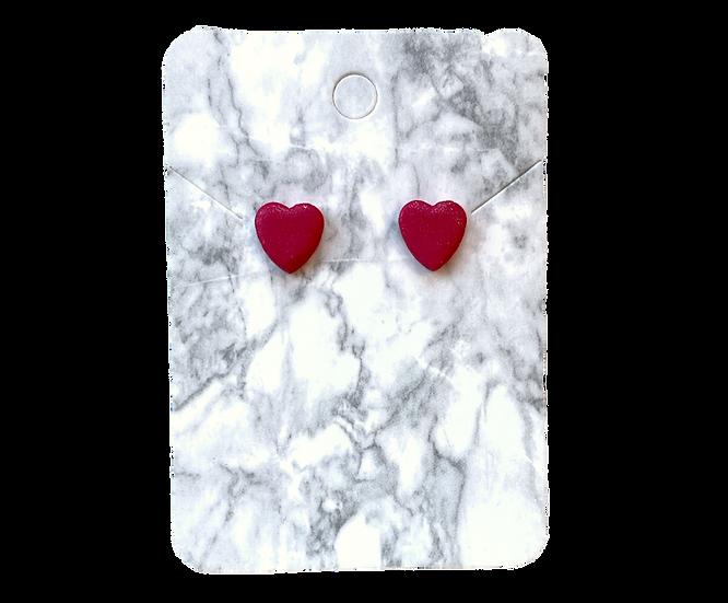 Red metallic heart studs (Small)