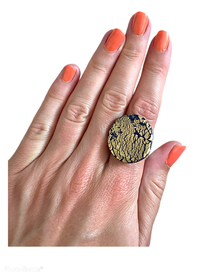 Navy and gold ring