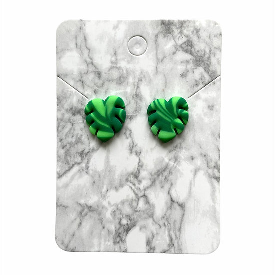 Marbled neon green leaf studs (Large)