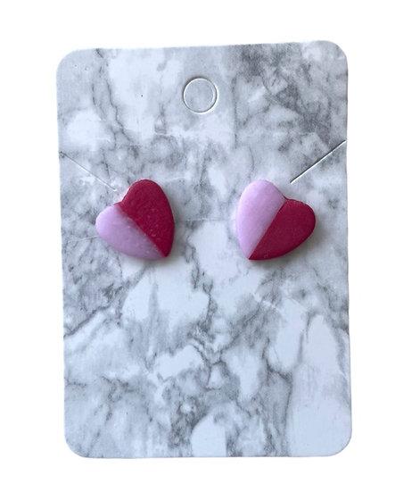Two-tone heart studs (Medium)
