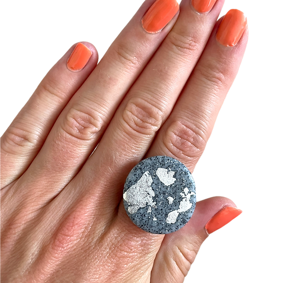 Granite and silver ring