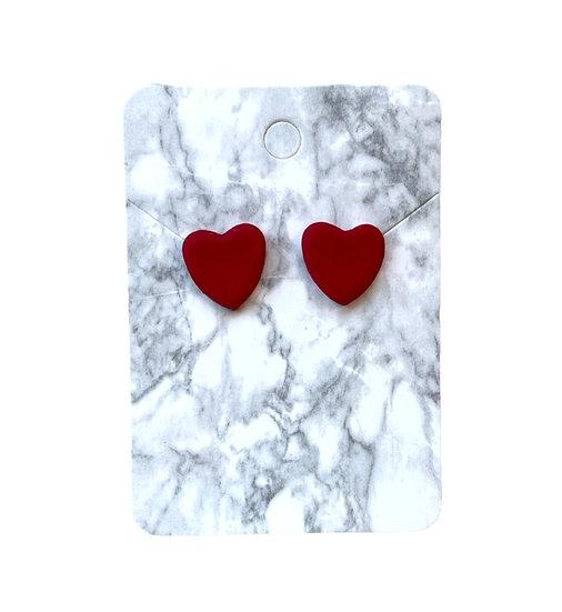 Red glitter heart studs (Medium)