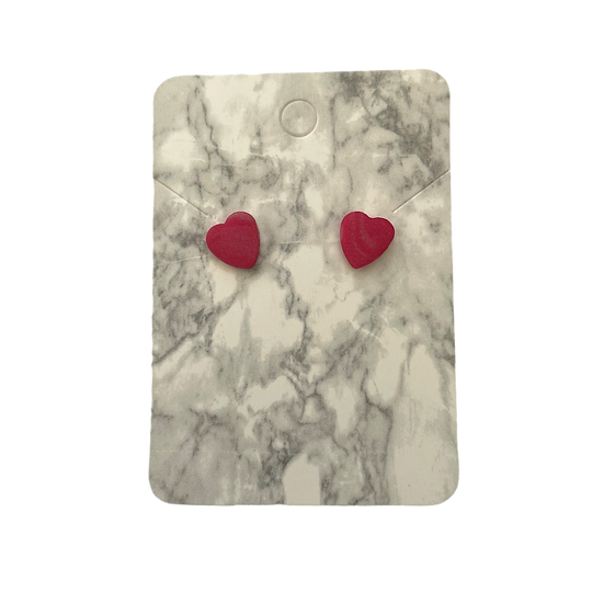 Red marble heart studs (Small)