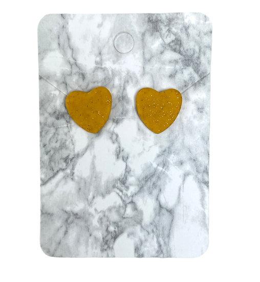 Glitter gold heart studs (Medium)