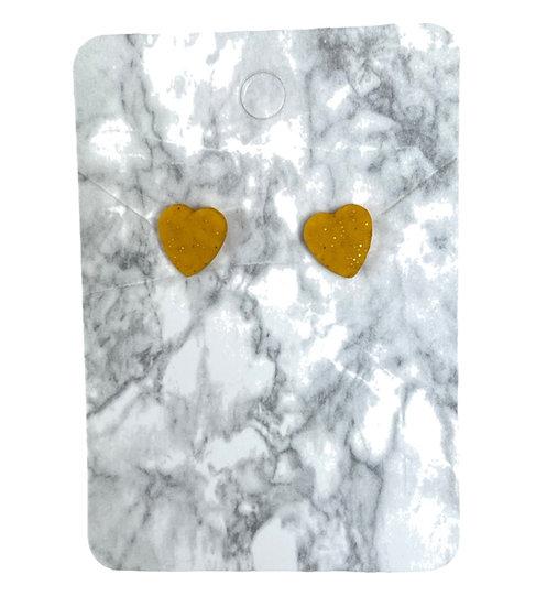 Glitter gold heart studs (Small)