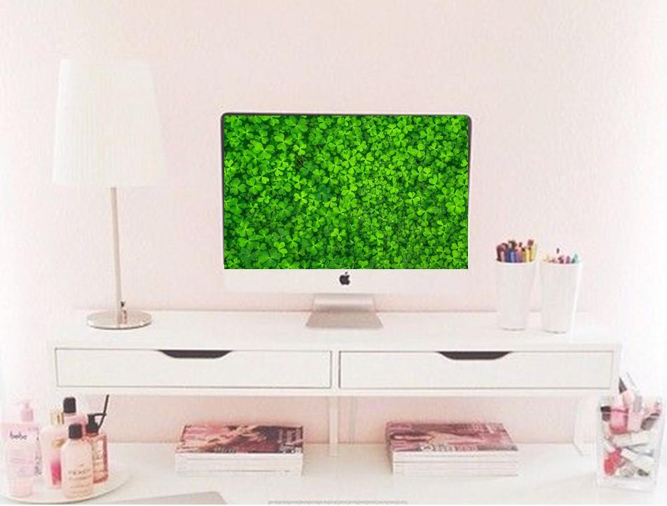 Downloadable clover desktop background wallpaper for St. Patrick's day