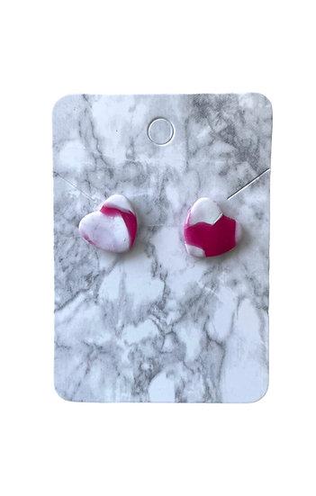 Pink marble heart studs (Medium)