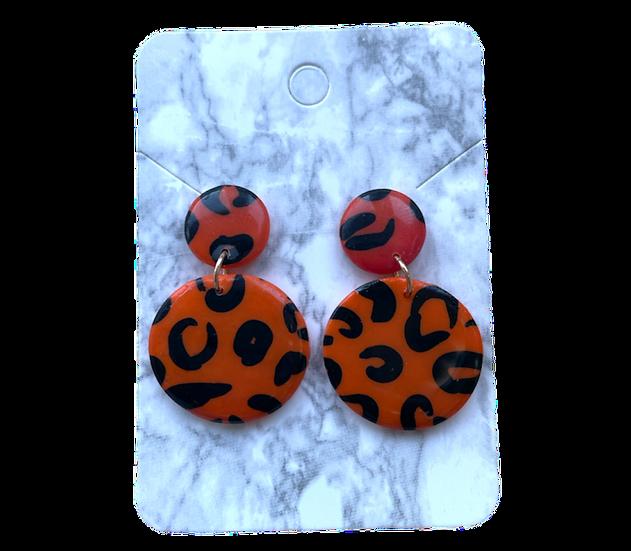 Orange leopard dangles