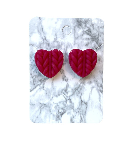 Pink glitter knitted heart studs (Large)