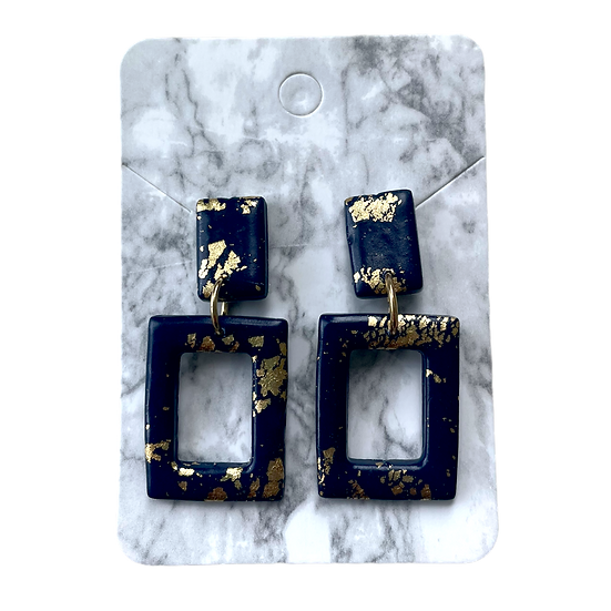 Navy and gold rectangle dangles
