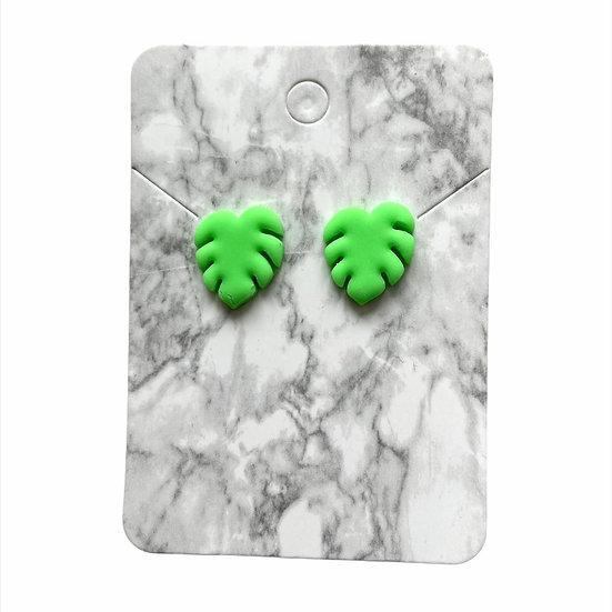 Neon green leaf studs (Large)